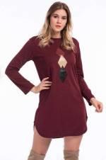 Kadın Bordo Üçgen Detaylı Yünlü Viskon Tunik-Elbise FRZK801