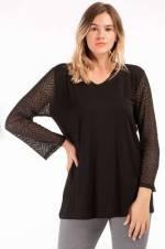Kadın Siyah Kolları Dantelli Bluz VLT5003