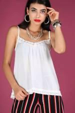 Kadın İp Askılı Ekru Bluz BLZ022400900