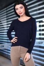 Kadın V Yaka Lacivert Bluz BLZ0016B2184