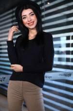 Kadın V Yaka Siyah Bluz BLZ0016B2184