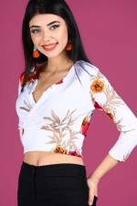 Kadın Ön Kruvaze Model Desenli Bluz BLZ000200511