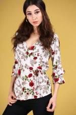 Kadın Ön Kruvaze Model Desenli Bluz BLZ000501106