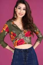 Kadın Ön Kruvaze Model Haki Bluz BLZ000200511
