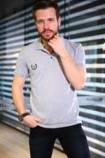 Erkek Polo Yaka Gri T-Shirt - TKMMODA1500E