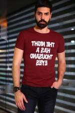 Erkek Ön Baskılı Bordo T-Shirt - TŞT001200400