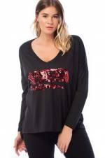 Kadın Siyah Payet İşli V Yaka Yarasa Kol Bluz 65N8290