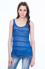 Kadın Saks Dantel T-Shirt 85N3487